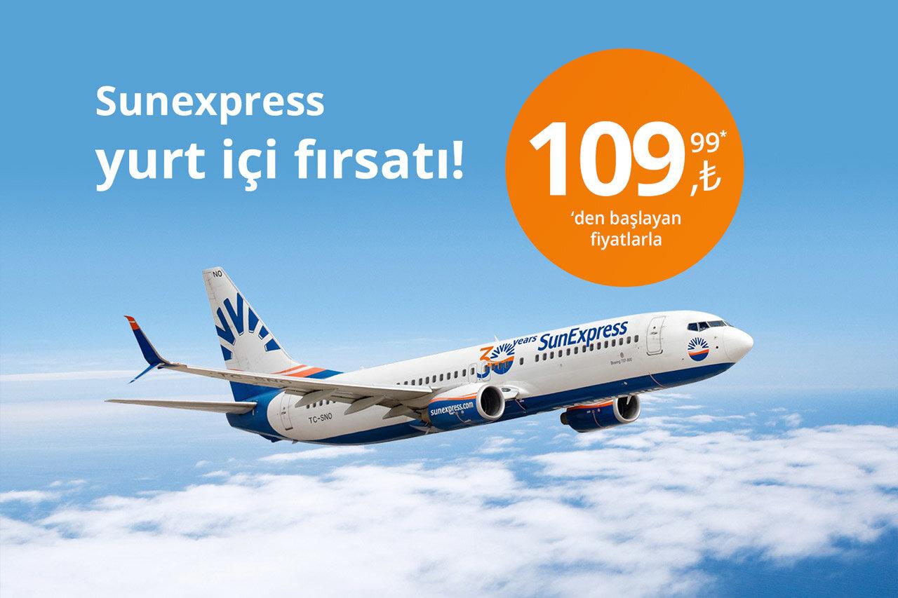 SunExpress  Yurt İçi Uçuşlarda İndirim Fırsatı