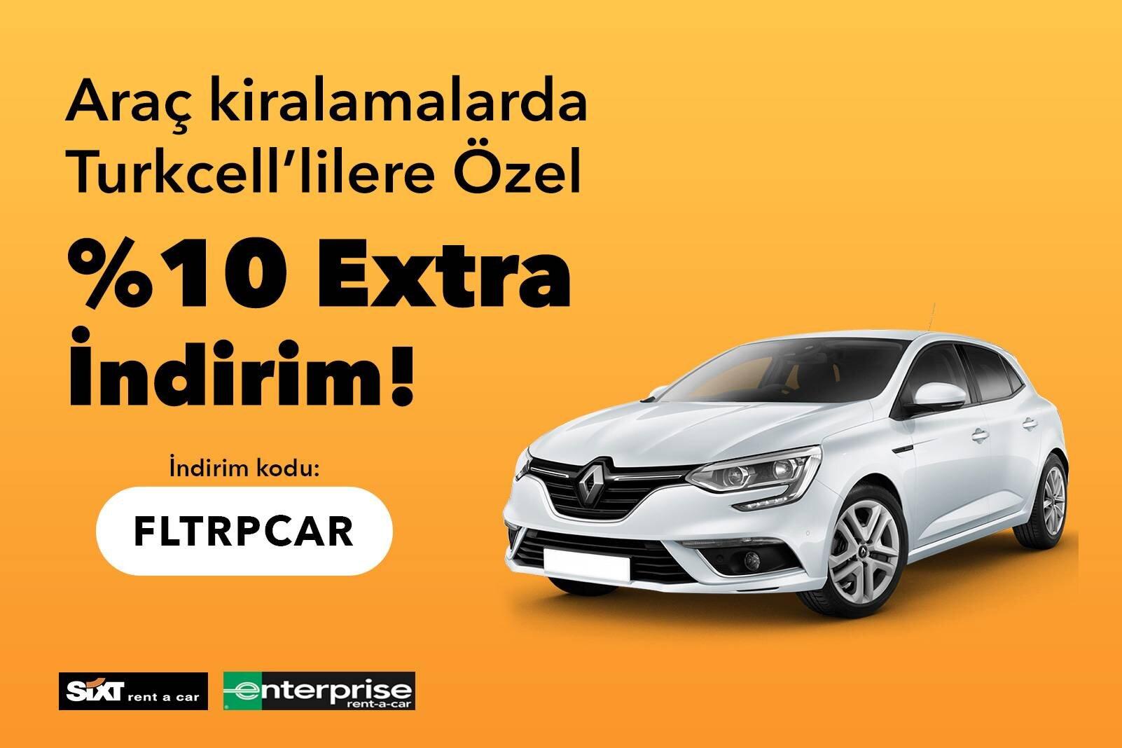 Araç Kiralamada Turkcell'lilere Özel Ekstra %10 İndirim